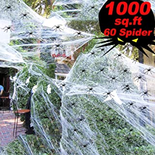 1000 sqft Halloween Spider Web Decorations,Super Stretch Spider Web with 60 Plastic Fake Spider Halloween Party Supplies Scene Props Indoor Outdoor Decorations for Bar Haunted House (300g/10.58 oz)