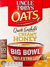 Uncle Toby's Oats, 10 x Big Bowl 30% Extra Sachets, Cream Honey,