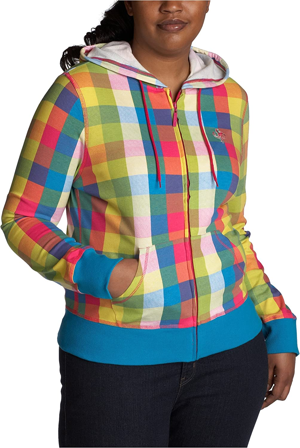 Southpole Juniors Plus All Over Color Block Print Hoody