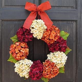 Burgundy Red, Cream and Orange Rust Hydrangea Wreath for Summer Thanksgiving Fall Front Door Decor