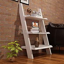 Driftingwood MDF Wooden Ladder Shelf Bookcase for Living Room - White