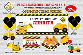 WoW Party Studio Personalized Construction Theme Birthday Party Supplies with Birthday Boy/Girl Name - Combo Kit (37 Pcs)
