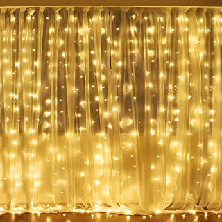 Fiee Fairy Curtain Lights,304 LED 9.8ftX9.8ft 30V 8Modes safety Window Lights with Memory for Home Wedding Christmas Party Family Patio Lawn Garden Bedroom Outdoor Indoor Wall Decorations(warm white)