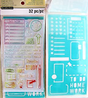 Recollections Tracker School Planner Accessories Clear Stamps and Stencils - 32 Pcs …