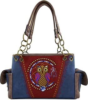 Angie&Allie Western Owl Handbag Purses Tote Bag Shoulder Bag Rhinestone and Studded (Navy)