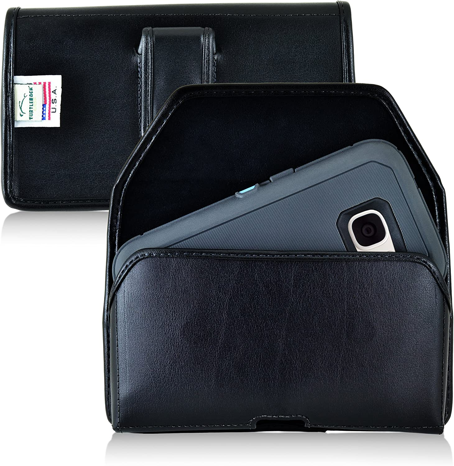 Turtleback Holster Made for Samsung Galaxy S7 with OB Defender or Bulky Cases, Black Belt Case Leather Pouch with Executive Belt Clip Horizontal Made in USA