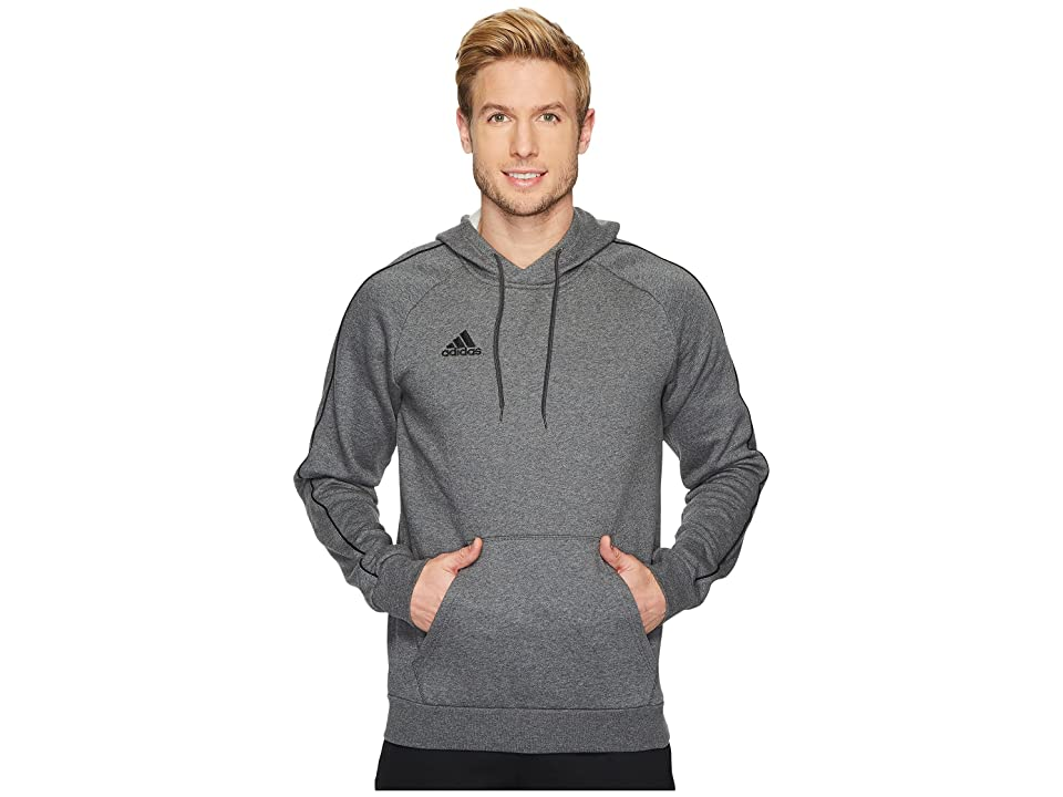 adidas Core18 Hoodie (Dark Grey Heather/Black) Men