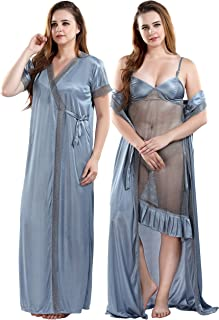 Fashigo Women's Satin Solid Maxi Nighty With Robe And Panty Set (Pack of 3)