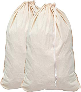 """Simple Houseware 2 Pack - Extra Large Natural Cotton Laundry Bag, Beige (28"""" x 36"""")"""