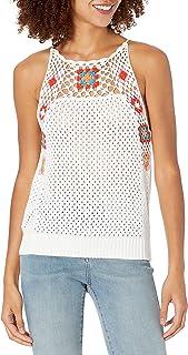 BCBGeneration womens High Neck Crochet Top Shirt