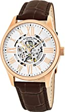 Stuhrling Original Mens Atrium Skeleton Automatic Self Winding Mechanical Dress Watch with Premium Leather Band