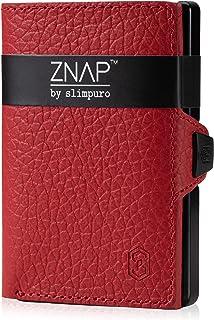 ZNAP Portafoglio Porta Carte di Credito - Protezione RFID - Rosso bottalato - Fino a 4-8 carte - Portafoglio Uomo Slim, Po...