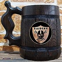 Oakland Raiders Beer Mug, American Football Wooden Beer Stein, NFL Sport Gift, Personalized Beer Stein, Oakland Raiders Tankard, Custom Gift for Men, Gift for Him