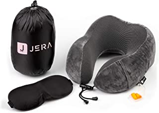 Travel Neck Support Pillow | 100% Pure Premium Memory Foam | Soft Breathable Cover | Comfortable for Airplane, Train, Car or Home | Free Bonus 3D Fitted Sleep Mask, Noise Blocking Earplugs and Luxury Carry Bag by JERA