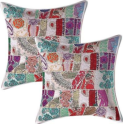 Stylo Culture Indien Coton Patchwork Housses de Coussins Vintage Blanc 60x60 cm Abstrait Coussin De Décoration Salon Traditionnel Décor Lounge 24x24 inch Floral Carré Taies d'oreiller (Lot de 2)