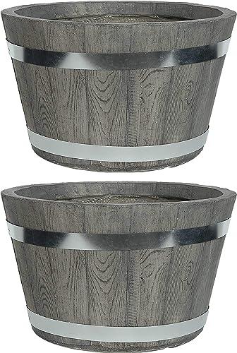 popular Sunnydaze outlet sale Chateau Fiber Clay Round Barrel Planter popular Flower Pot, Indoor/Outdoor 14-Inch Set of 2, Gray outlet sale