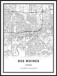 Squareious Des Moines map Poster Print | Modern Black and White Wall Art | Scandinavian Home Decor | Iowa City Prints Artwork | Fine Art Posters 18x24