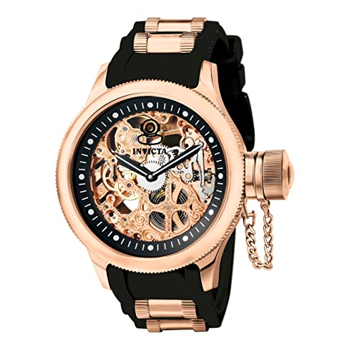Invicta Mens 1090 Russian Diver Rose Gold-tone Stainless Steel Skeleton Watch