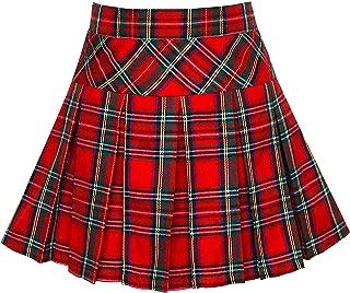 Girls Skirt Back School Uniform Red Tartan Skirt Size 6-14