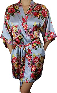 4af64306f3 Ms Lovely Women s Floral Satin Kimono Short Bridesmaid Robe Pockets - Silky  Touch