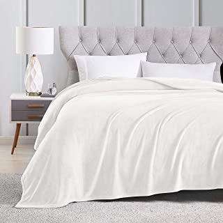 EXQ Home Fleece Blanket King Size White Throw Blanket for Bed or Couch - Super Soft Microfiber Fuzzy Flannel Blanket for Adults or Kids
