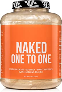 NAKED ONE TO ONE - Grass Fed Whey Protein + Sweet Potato Powder - 25 grams of Protein and Carbs - Non GMO, Gluten Free, Soy Free - No Artificial Flavors, Sweeteners, or Colors - 42 Servings