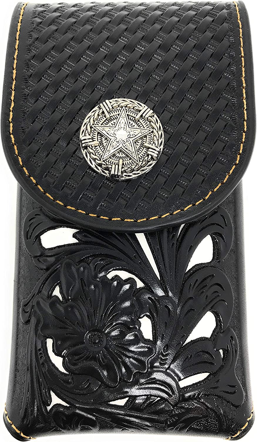 Texas West Western Cowboy Tooled Floral Leather Lone Star Concho Belt Loop Medium Cell Phone Holster Case (Black/Beige)