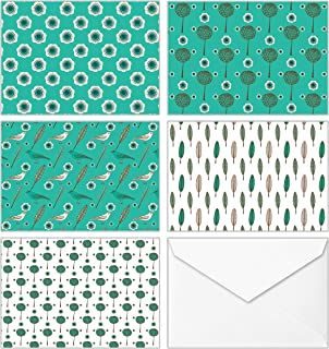 100 All Occasion Assorted Blank Cards – 5 Green Pattern Designs Stationery with White Envelopes and Stickers – Bulk Box Greeting Set of Seamless Symmetrical Design Notes, 4 x 6 Inch