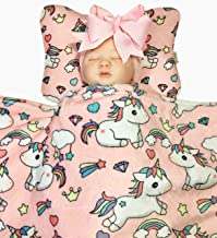 Bling Mami Head Shaping Baby Pillow with Pink Unicorn Fleece Blanket (2 Pc. Set) Ergonomic Support to Help Prevent Flat Head Syndrome | Newborn Infant Sleeping Comfort