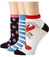 Kate Spade New York - Love Lobster 3-Pack Anklet Socks