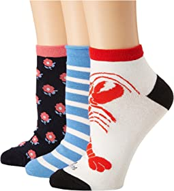 Kate Spade New York - Love Lobster 3-Pack Anklet Socks