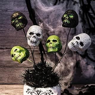Valery Madelyn 12 inch Halloween Wreath Accessories Halloween Skull Picks for Indoor Outdoor Cute Halloween Decoration (6 Packs)