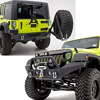 Restyling Factory -Rock Crawler Full Width Front Bumper w/Winch Plate+Rear Bumper with Tire Carrier and 2