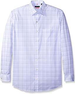Men's Big and Tall Traveler Stretch Long Sleeve Button Down Blue/White/Purple Shirt