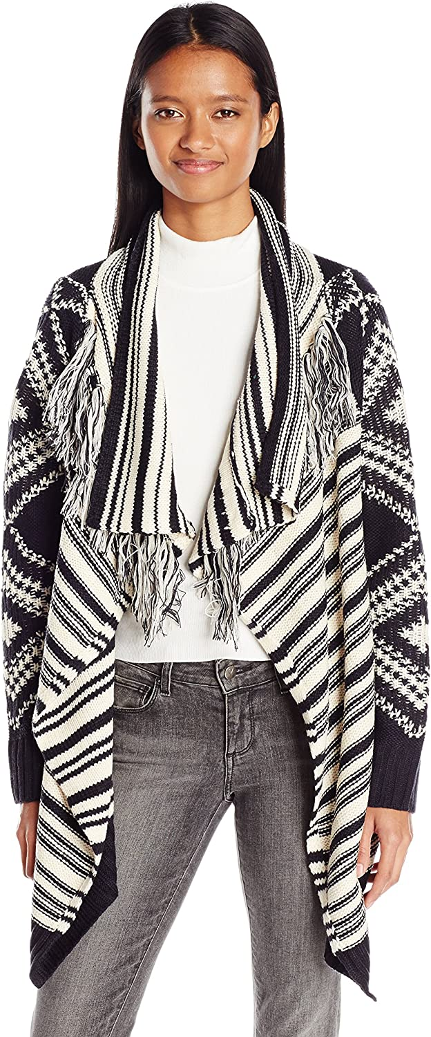 Angie Womens Open Cardigan Sweater with Fringe Cardigan Sweater