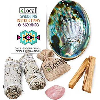 JL Local Perfect Unity Smudging Kit - 2 White Sage Smudge Sticks + 2 Palo Santo Sticks + Abalone Shell Bowl + Rose Quartz Crystal | Healing Incense for Cleansing, Blessing, Protection, Meditation