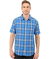 True Grit - Indigo Surf Plaids Short Sleeve One-Pocket Shirt w/ Contrast Chambray