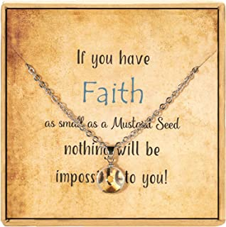 AMIST Christian Necklace Inspiration Gifts for Women Gifts for Graduates - If You Have Faith as Small as a Mustard Seed Mu...