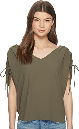 Cinched Sleeve V-Neck Blouse