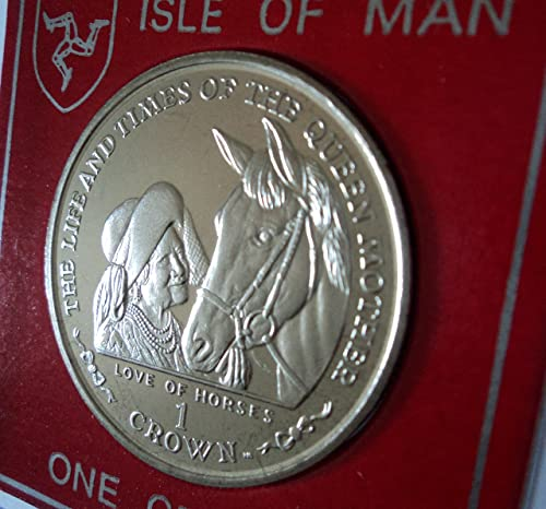 The Queen Mum Mother with Racehorse 2002 Isle of Man Commemorative Crown Coin (BU) Collector Gift Set in Display Case