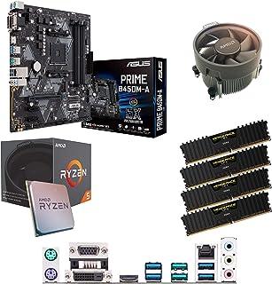 Components4All AMD Ryzen 5 1500 X 3,6 GHz (Turbo 3,7 GHz) fyrkärnig åtta gänga CPU, ASUS Prime B450M-A moderkort & 32 GB 3...