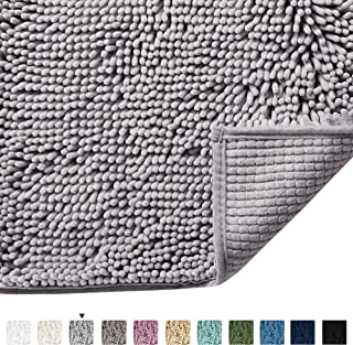 Bath Rugs for Bathroom Slip-Resistant Shag Chenille Bath Rugs Mat Extra Soft and Absorbent Bath Rug for Shower Room Machine-Washable Fast Dry (Gray, 17