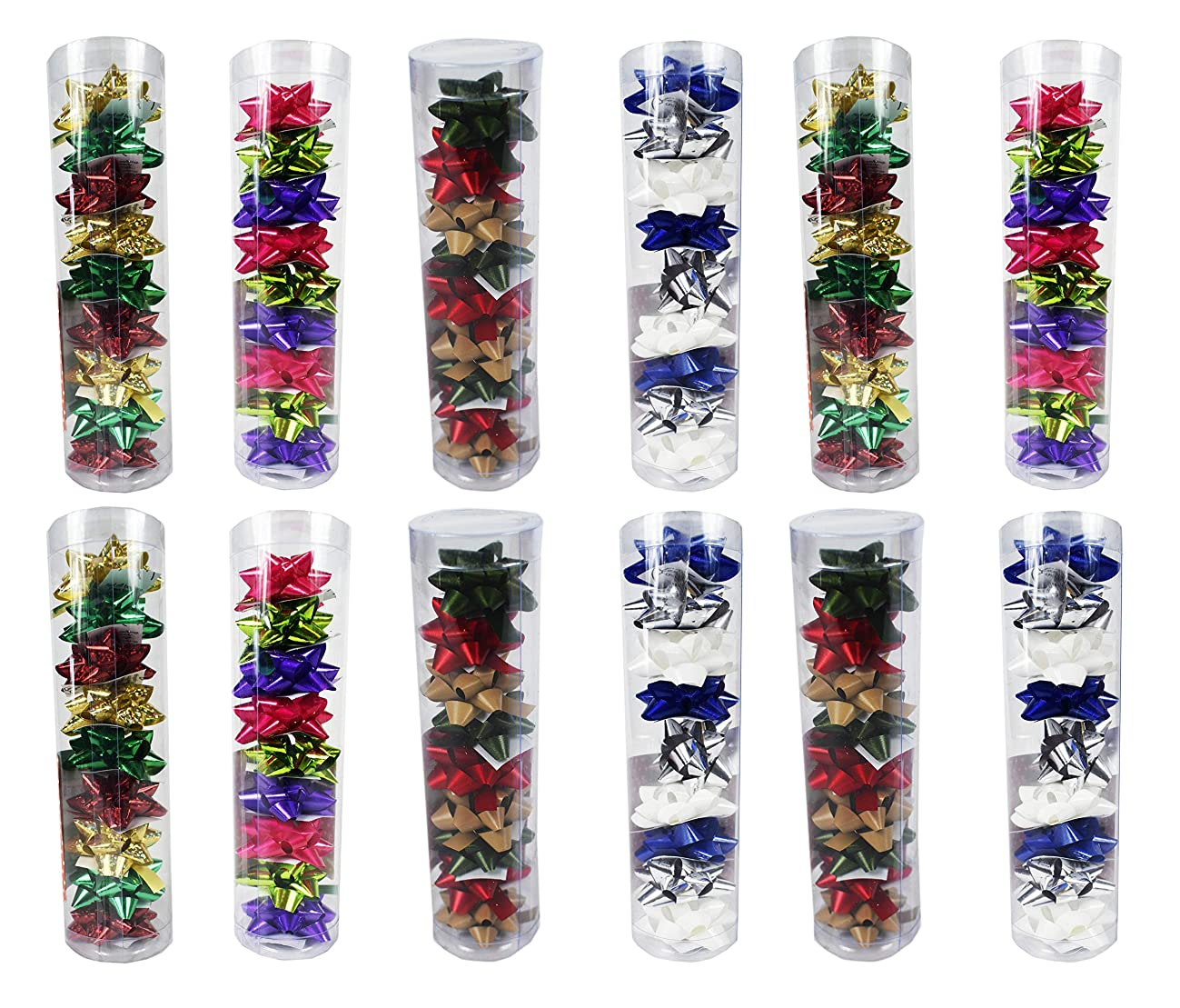 Set of 108 Mini Gift Bows! Peel-and-Stick Back! Perfect for Gift Wrapping! Featuring 12 Different Colors! (108 Mini Bows)