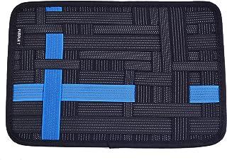 PURPLE 7 オーガナイザー インナーバッグ iPadケース ガジェット デジモノ アクセサリ 固定ツール A4サイズ (ブラック+ブルー)