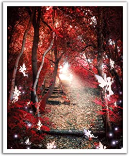 JP London Peel and Stick Removable Wall Decal Sticker Mural, Red Autumn Magical Forest, 19.75 by 24-Inch