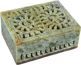 Hashcart Natural Soapstone Jewelry Organizer - Decorative Box for Storage (4x3 inch) - Stone Box