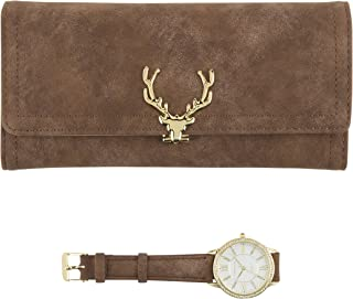 Women's Gold Watch with Crystal Bling on The Bezel & Matching Brown Wallet Gift Set