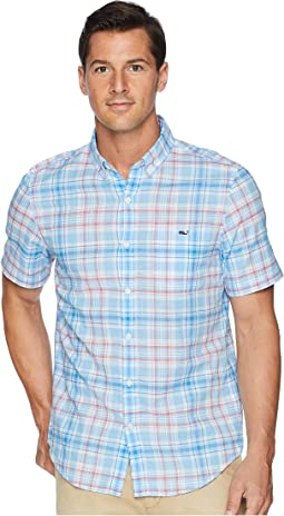 Fire Road Plaid Short Sleeve Slim Tucker Shirt