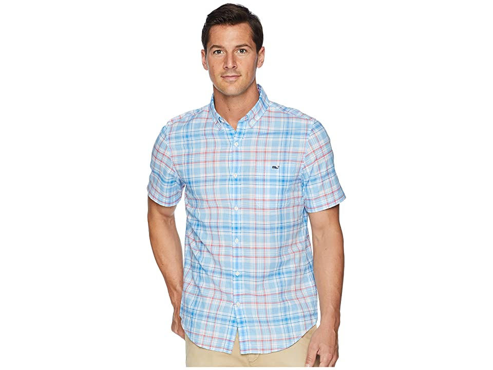 Vineyard Vines Fire Road Plaid Short Sleeve Slim Tucker Shirt (Ocean Breeze) Men