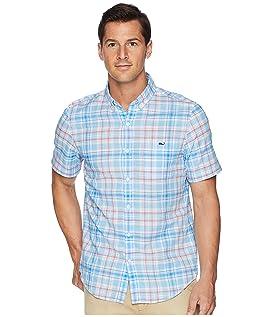 Fire Road Plaid Short Sleeve Slim Tucker Shirt